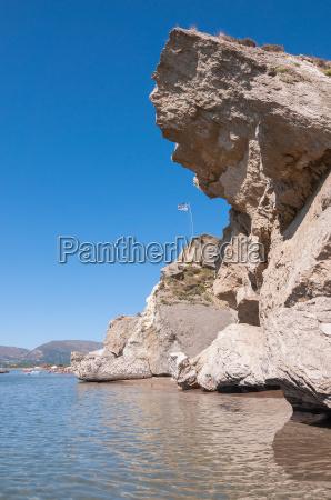 rock landslide on the kalamaki beach