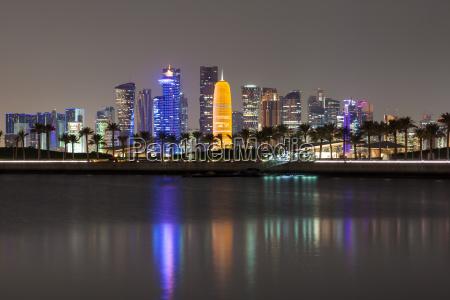 doha skyline der stadt in der