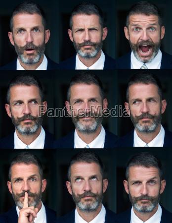portraet des mannes mehrfache gesichtsausdruecke zusammengesetzt