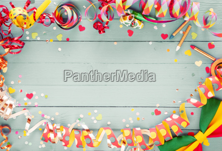 colorful party frame with streamers and
