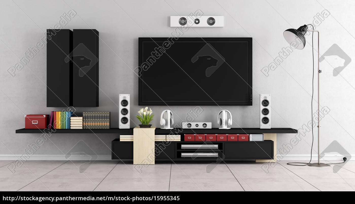 Lizenzfreies Bild 15955345 - moderne wohnzimmer raum mit gerät tv wand
