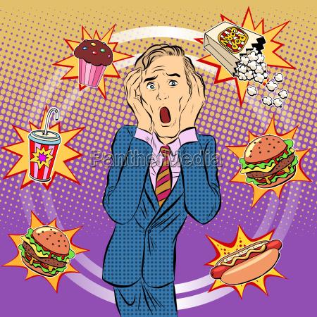 fast food mann ungesunde ernaehrung panik