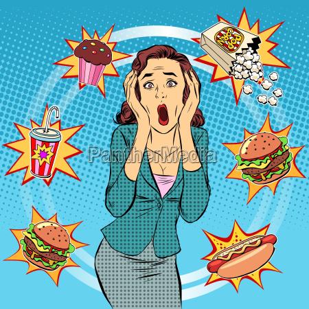 fast food frau ungesunde ernaehrung panik