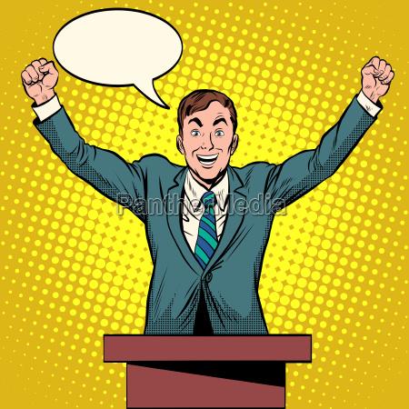 sprecher kandidatenrede auf dem podium