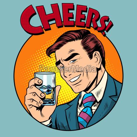 cheers toast celebration man pop art