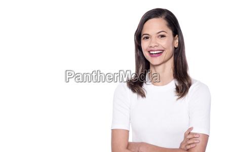 happy mixed race woman