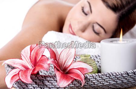 relaxing spa woman