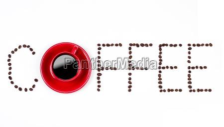 coffee text with coffeebeans and red