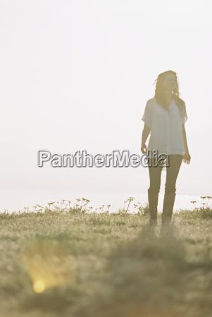 a woman in a white shirt