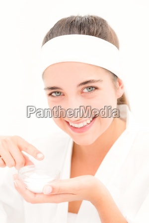 beautiful smiling woman mid section of