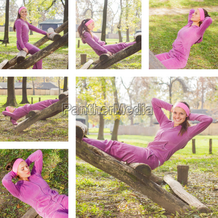 fitness young woman exercising outdoor