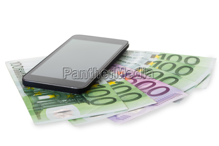closeup of smartphone on euro notes