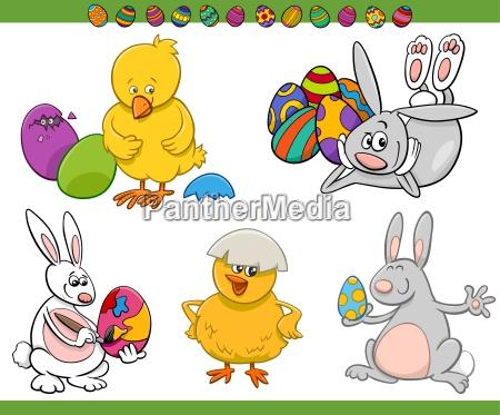 easter cartoon characters set