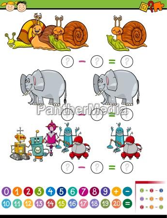math task cartoon illustration
