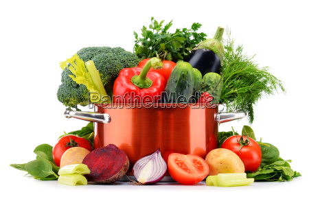 pot and raw vegetables isolated on