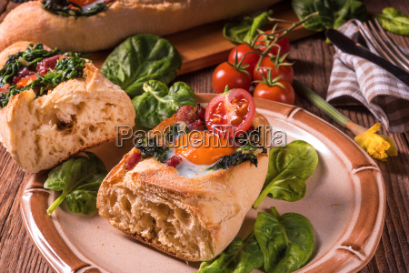 farmer baguette filled with egg bacon