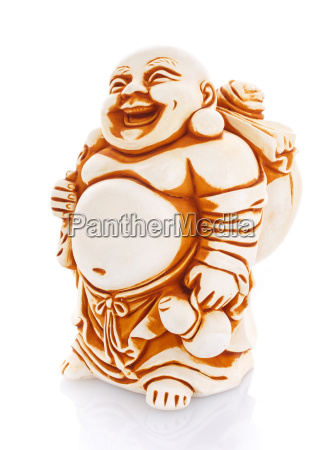 figurine cheerful hotei on a white