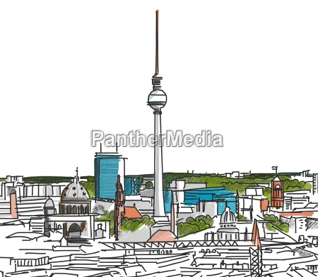 on the roofs of berlin watercolored