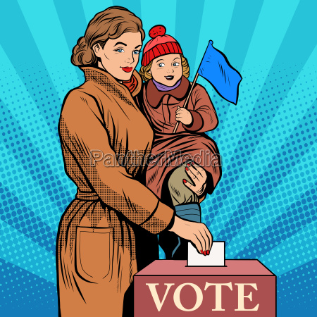 mother and child women vote in