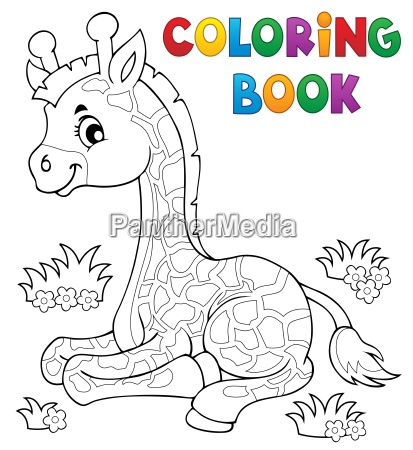 coloring book young giraffe theme 1