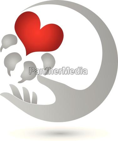 hand und pfote hunde herz logo