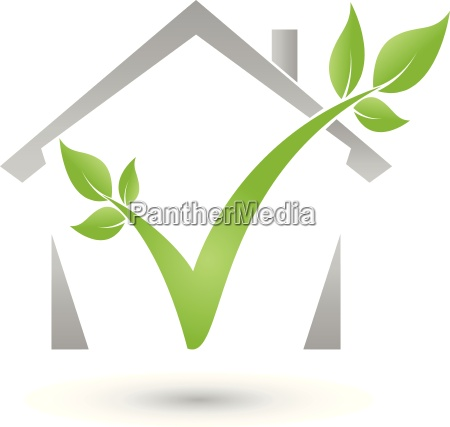 house and plant leaves tree logo