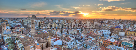 sunset over historic center of valencia
