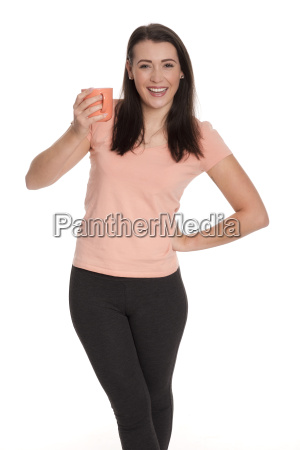 young woman holding a cup of