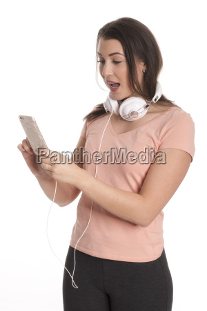 young woman with headphones and mobile