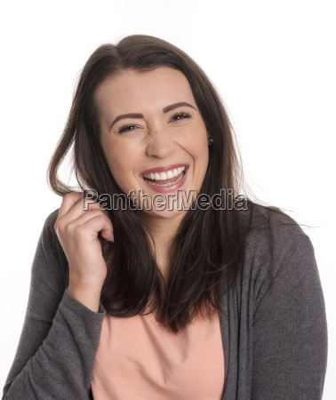 pretty woman face laughs and is