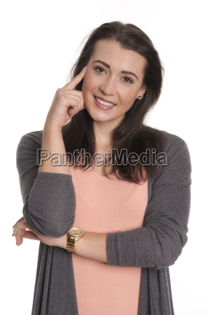 pretty brunette woman holding his finger