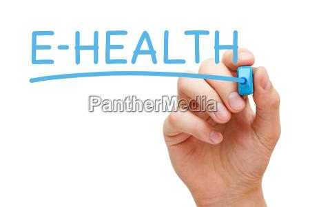 e health hand blau marker