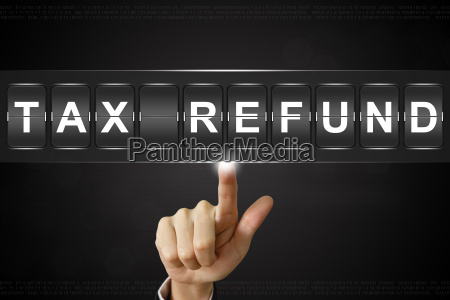 business hand clicking tax refund on