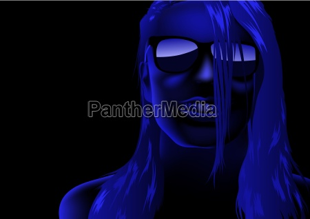 blue female face
