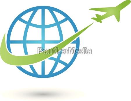 erde und flugzeug logo weltkugel transport