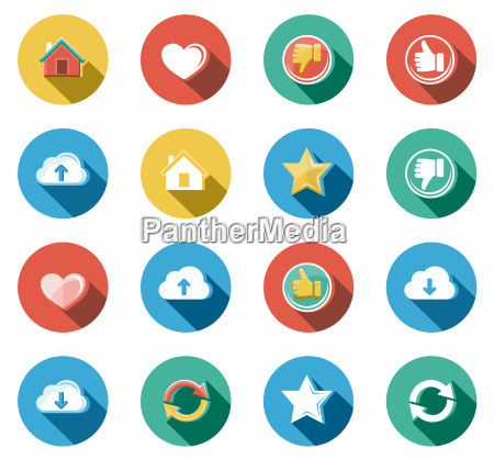 internet und web flach icons set