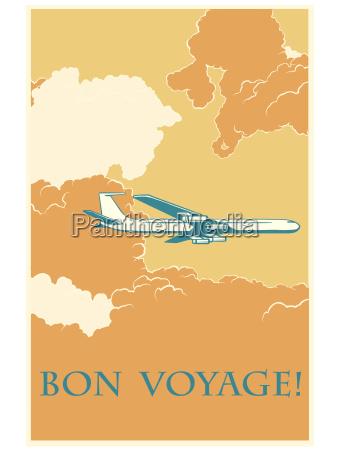 retro airplane bon voyage