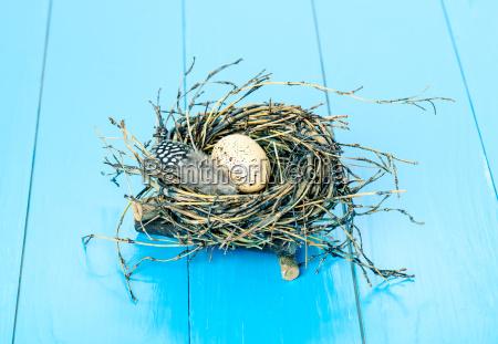 ei im nest auf blauem holzuntergrund