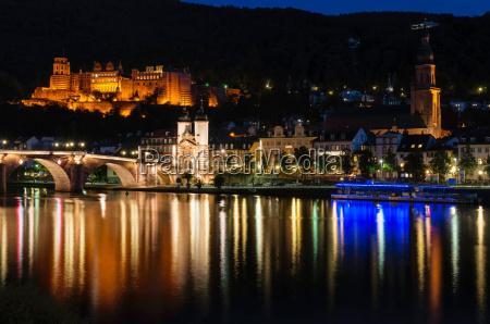 heidelberg stadt nachtansicht