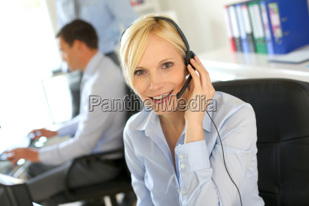 portrait of beautiful customer service operator