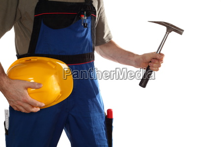 bauarbeiter mit hammer und helm