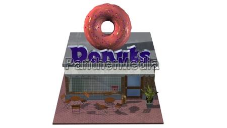 3d donut shop restaurant oder cafe