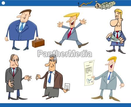 cartoon set of businessmen