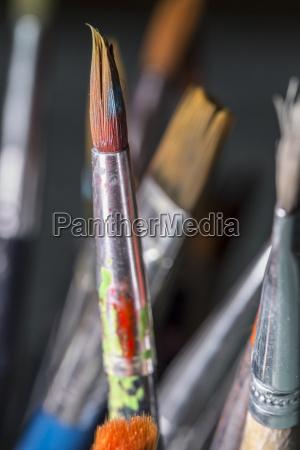 schmutzige pinsel close up