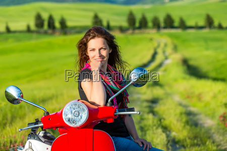 young woman traveling in tuscany