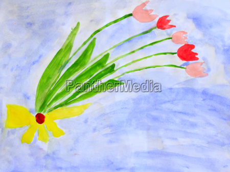 children39s drawing with bouquet of flowers