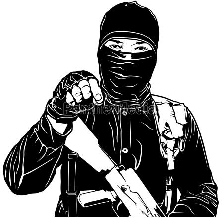 terrorist in schwarz