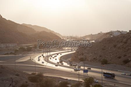 muscat expressway at sunset oman