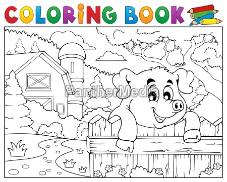 coloring book pig behind fence near
