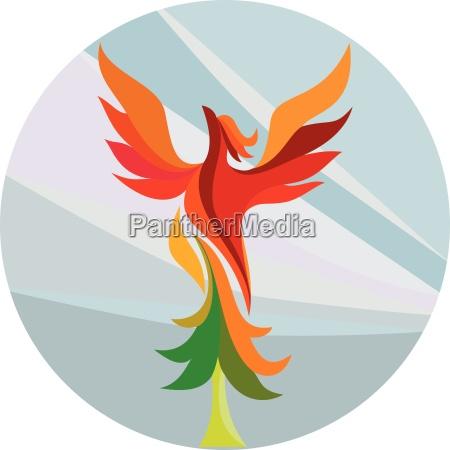 phoenix rising burning tree kreis retro